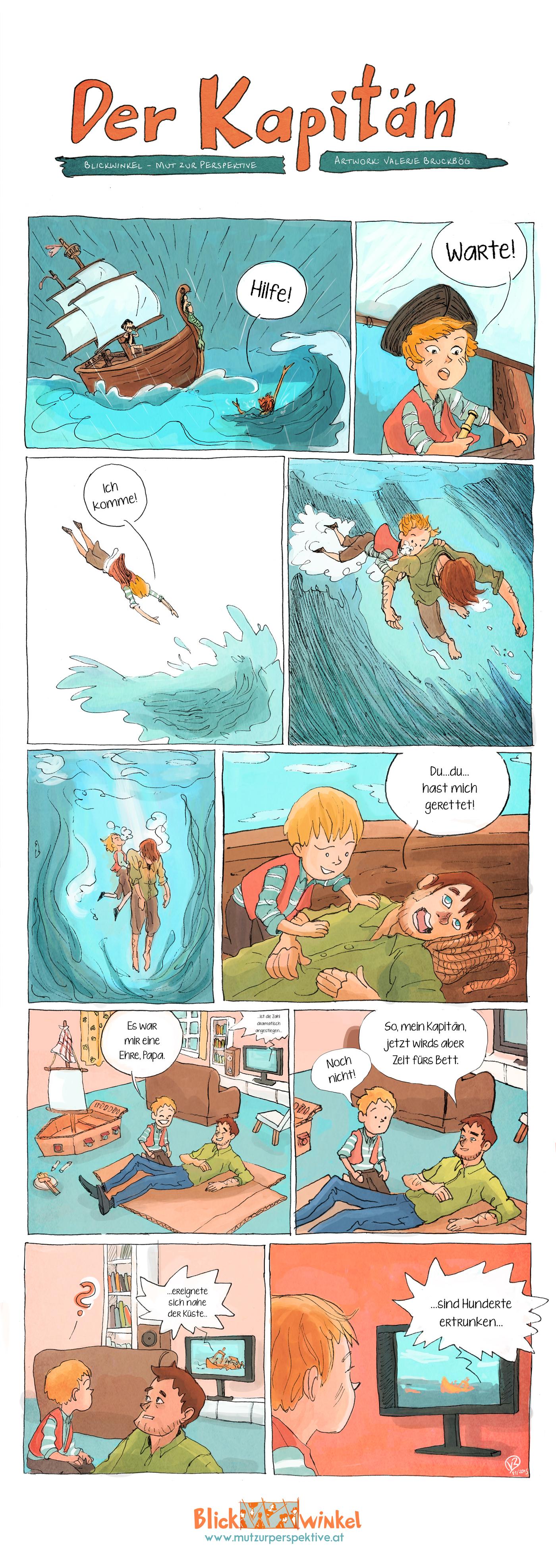 Ein kleiner Junge spielt Schiffskapitän auf dem Meer, rettet seinen Vater und sieht im Wohnzimmer die Nachrichten im Fernsehen.