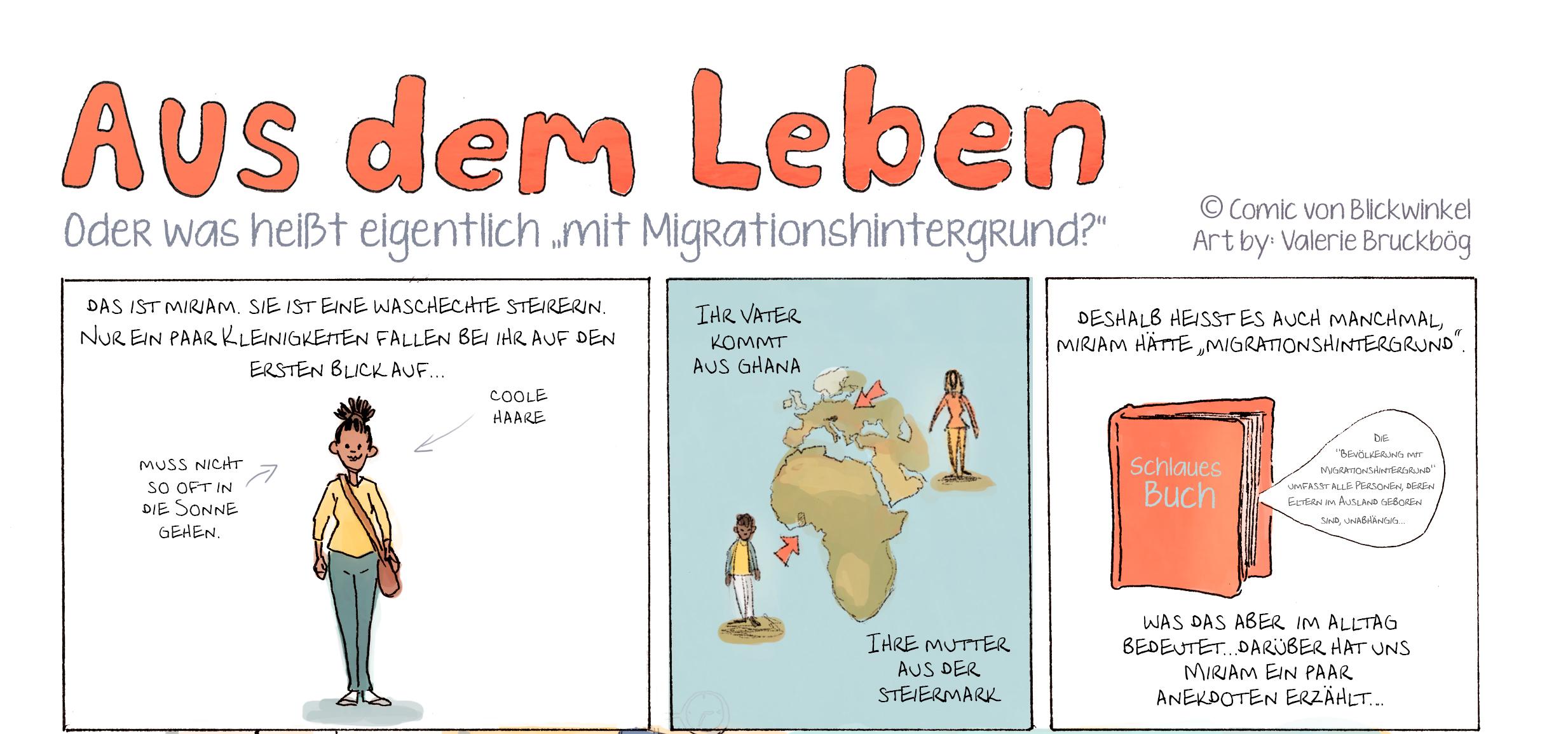 Aus dem Leben ist eine Comic-Serie von Blickwinkel, Mut zur Perspektive. Gezeichnet wurde die Geschichte von Valerie Bruckbög nach einem Interview mit Kathrin Kaisinger und Miriam im Augartenpark in Graz.