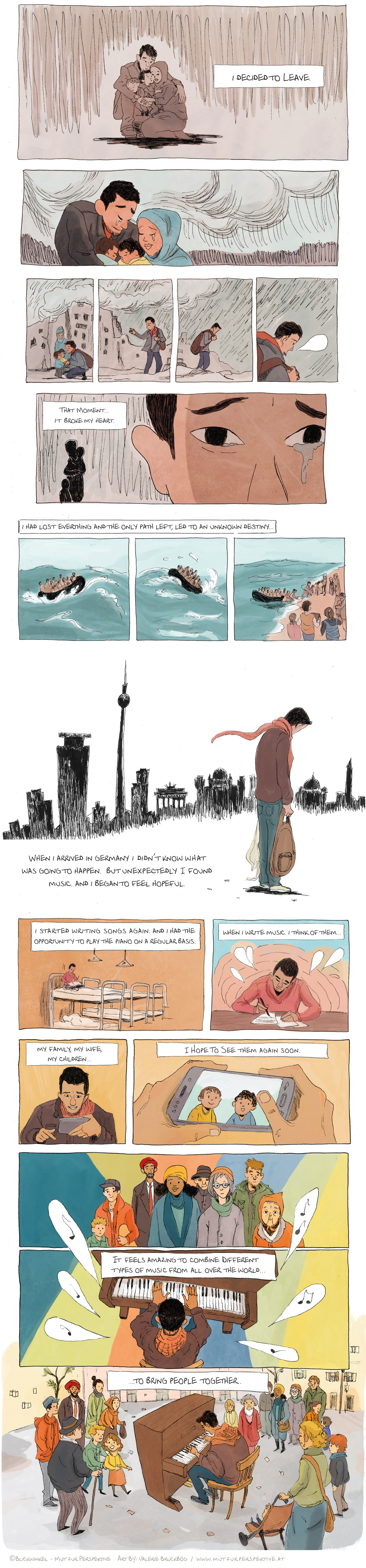 Blickwinkel - Mut zur Perspektive created this Comic based on an Interview with Aeham Ahmad. The Artwork was created by Illustrator and Comic Artist Valerie Bruckbög. Interview by Anna Achleitner and Kathrin Kaisinger.