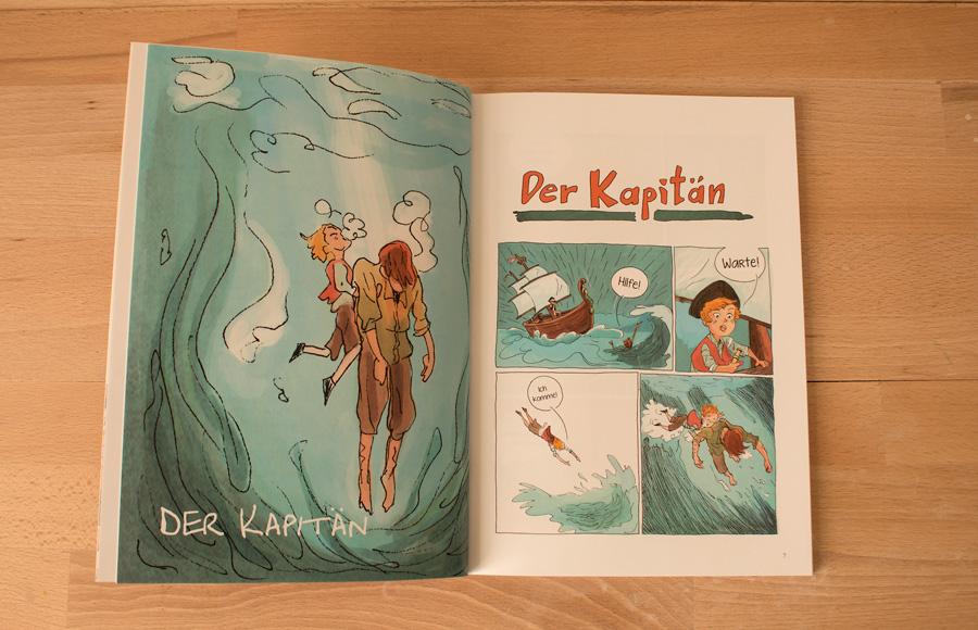Blickwinkel Comic Junge spielt Kapitän auf dem Meer