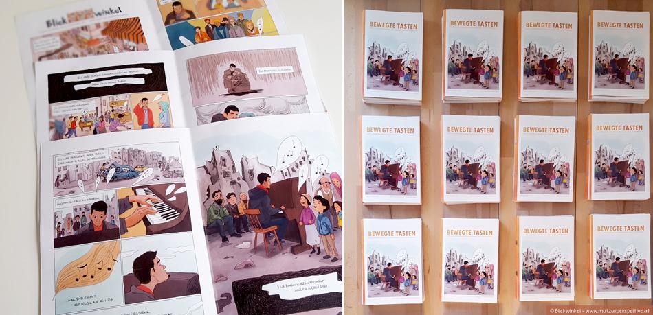 Der Comic erzählt die Geschichte von Aeham Ahmad gezeichnet von Valerie Bruckbög