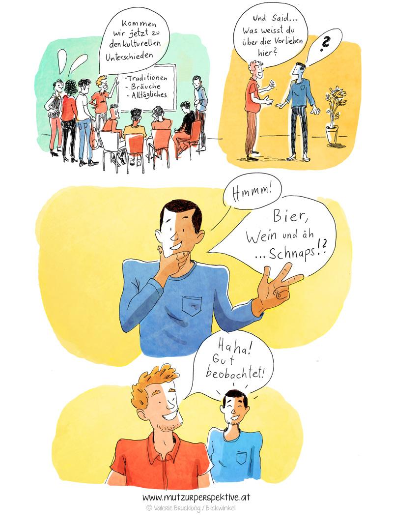 Comic über kulturell unterschiede