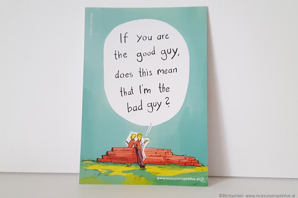 Blickwinkel Comic Postkarte zum verschicken.
